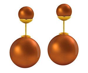 Metallic Silicone Double Pearl Shape Ladies Fashion Earrings, Gold Tone PushBack