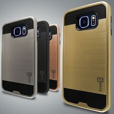 Faux Brushed Metal Hybrid Armor Slim Phone Cover Case for Samsung Galaxy S7