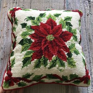 Vtg Pillow Throw Xmas Wool Needlepoint Red Bold Poinsettia Floral Velvet 12 x12