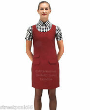 Relco Womens Burgundy Tonic Two Tone Pinafore Dress 60s Mod Skin Ska Skinbryd
