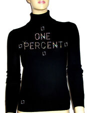 "Luxe Oh` Dor 100% Cashmere Sweater "" One Percent "" Black Silver 34/36 XS/S"