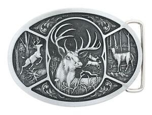 Western Buck Deer Hunter Hunting Metal Belt Buckle