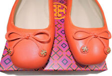 Tory Burch Laila Driver Ballet Flats Leather Ballerina Shoe Gold Charms 9