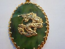Vintage Spinach Green Jade Dragon Great Pendant Unused Old Stock Mint