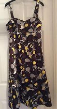 Debut, Dress, Size 12, Brown Grey & Yellow, Circles, Side Zip, Fully Lined