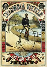 "TARGA VINTAGE ""1890 COLUMBIA BICYCLE"" PUBBLICITA', ADVERTISING, POSTER, PLATE"