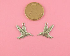 Antique Silver Plated Brass Hummingbird In Flight Charm Pair - 3 Pair