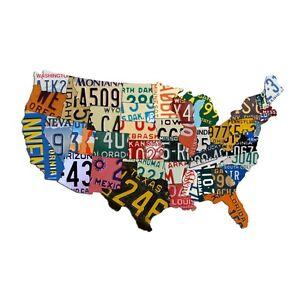 "Plasma Cut Aluminum USA License Plate Map (35"" x 24""), License Plate Sign"