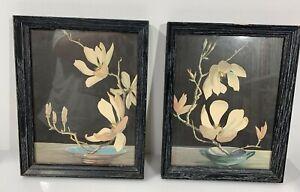 Vintage Artwork 1956 Floral Art Black Original Frame Lot of 2 Orchid Botanical