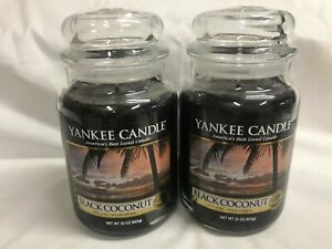 Yankee Candle (2) BLACK COCONUT 22 oz Jar Candles TWO!!
