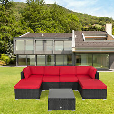 7pc Rattan Wicker Sofa Set PE Sectional Couch Cushioned Outdoor Furniture Patio