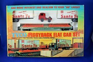 HO Tyco #7348A:500 Piggyback Flat Car Set - Sante Fe - Excellent+++ Condition
