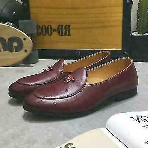 Slip on Belgian Dress Shoes Mens Leather Flats Bowtie Loafers Driving Oxfords MN