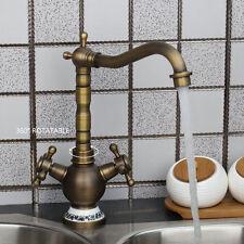 Luxury Classical Antique Brass Bathroom Sink Faucet Swivel Spout Basin Mixer Tap
