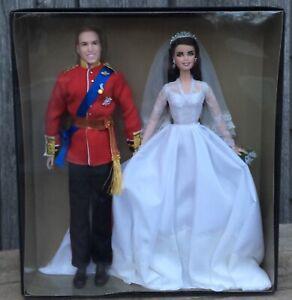 NIB William & Catherine Wedding Barbie Doll Set 2011 Gold Label Mattel