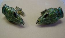 "Margot de Taxco Enameled Snake Head Cuff Links  1-1/4"" long x 3/4"" wide"
