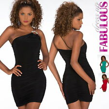New Sexy Womens One Shoulder Mini Dress Clubbing Evening Size 2 4 6 8 10 XS S M