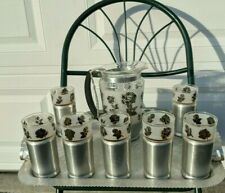 Vintage Everlast Forged Aluminum Tray with Pitcher 7 Glasses 13 by 19 Inches