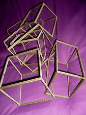 Vintage Fabricated Steel Square Cubes Art Sculpture - 30 in. x 19 in. x 17 in.