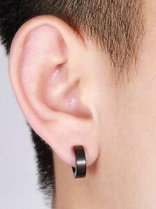 Pair 10mm Black Stainless Titanium Steel Punk Earrings Men Women Stud Piercing