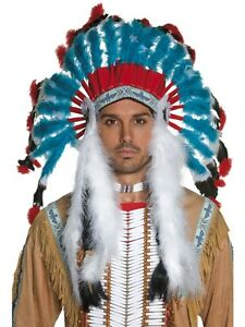 Deluxe Western Indian Chief Head Dress Adults Feather Headpiece Costume New