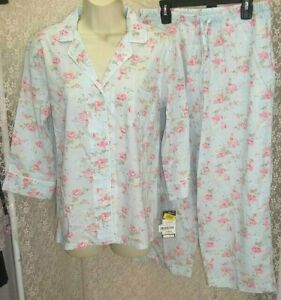 Ralph Lauren Small Cotton cropped Pajamas top/pants 3/4 sleeve Blue/Pink Floral