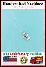 Beautiful Pretzel Silver Charm Necklace. Pretzel Lover Gift.