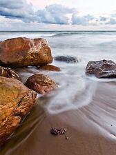 ART PRINT POSTER PHOTO SEASCAPE BEACH ROCKY SANDY COAST SURF LFMP1252