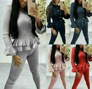 Womens Ladies Fine Ribbed Peplum Frill Gold Button Loungewear Suit Tracksuit Set
