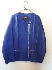 NWT - WhoWhatWear - Suede Jacket - 4X - Zipper Front - Beautiful Blue / Silver