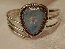 Navajo Sterling Silver Opal Bracelet