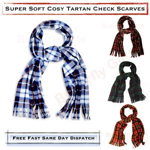 Mens Womens Soft Tartan Check Fleece Scarf Cosy Warm Polar Fleece Scarves Tassel