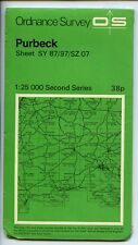 Second Series: Purbeck Sheet SY87/97/SZ 07 Ordnance Survey Sheet map folded used