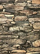 BRAND NEW Vinyl, 3D Warm Mixture Of Natural Colours slate/Brick Wallpaper