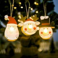 Christmas Wooden Hanging Pendant LED Light Santa Claus Snowman Elk Doll Toy Gift