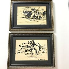 Raymond Thialier Ink on Paper Lot of Two Pen and Inks Signed Date Unknown French