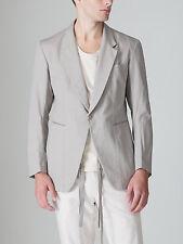Y's YOHJI YAMAMOTO Men Slim Suit Blazer Khaki Grey Causal Linen w/ Hidden Belt
