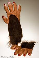 "Chimp / Monkey Hands Brown Latex & Faux Fur ""She Chimp"" Costume Animal Hands"