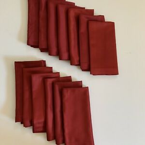 14 CRATE & BARREL Fabric Napkins Gala Red Shimmer Christmas Napkins New NWT