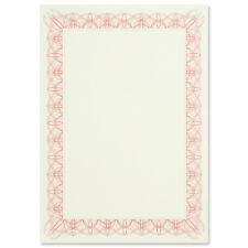 Pack of 30 A4 Paper Blank Certificates With Red / Pink Border and Foil Seal