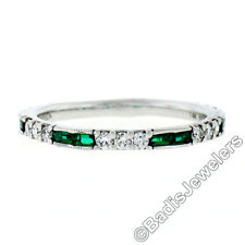 Gabriel & Co. 14K White Gold 0.62ctw Round Diamond & Baguette Emerald Band Ring
