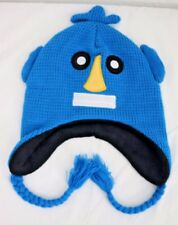 NWOT LHS International Blue Robot Head Embroidered Face Knit Beanie with Braids