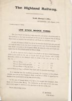 The Highland Railway Inverness 1913 Live Stock Invoice Forms Letter Ref 39576