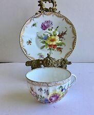 Antique tasse et soucoupe Dresde Excellent peint main fleurs
