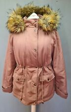 SIZE 18 Ladies NEW LOOK casual dusky pink fur trim hooded winter parka coat G164