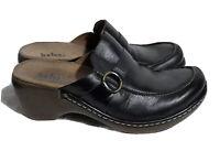 Clarks Women's Clogs Mules Sz 7 M Indigo Black Leather Slip On Shoes Buckle