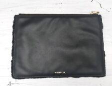 Whistles black leather clutch bag purse handbag bag fur