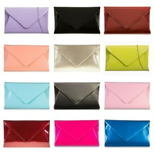 Women Patent Large Envelope Clutch Bag with Silver Strap Chain Prom Bridal Purse