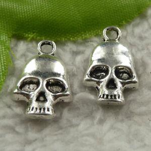 Free Ship 340 pcs tibet silver skull charms 18x11mm B4214