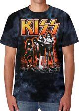KISS Hotter Than Hell Tie Dye T Shirt SIZE X-LARGE Liquid Blue NEW